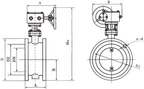 D341W手动通风蝶阀 (蜗轮传动)