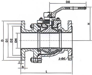 Q41F46手动衬氟球阀 结构尺寸图