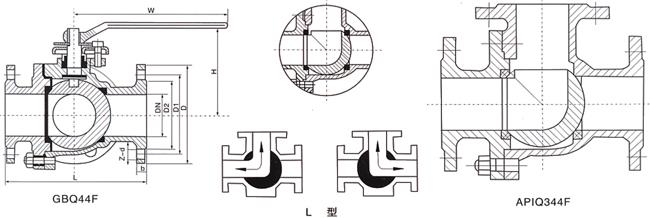 三通L型球阀 (结构尺寸图)
