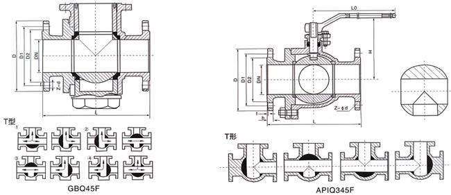 三通T型球阀 (结构尺寸图)