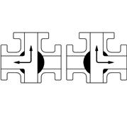 T型电动三通球阀 流向示意图